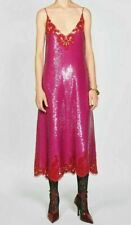 ZARA Small CAMPAIGN COLLECTION V-NECK SEQUINED DRESS FUCHSIA 6895/300 pink LACE