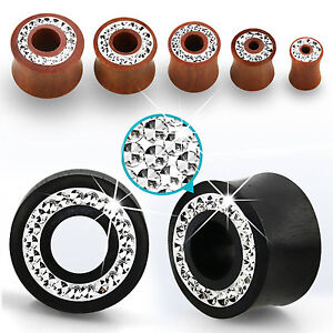 """Pair CZ Crystal Rim Double Flared Ear Flesh Tunnel Gauges Plugs Jewels 2G - 5/8"""""""