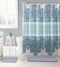 "Fabric Shower Curtain for Bathroom WhiteBlueMint Floral Design 72"" L"