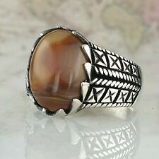 Solid 925 Sterling Silver Mens Ring Natural Brown Agate Gemstone HandMade