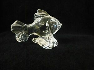Princess House 24% Lead Crystal Fish Figurine w/ Foil Sticker ~ No Box