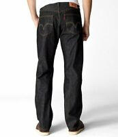 LEVIS 501 SHRINK TO FIT BUTTON FLY JEANS STRAIGHT LEG COLOR BLACK RIGID 0226