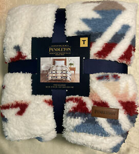"""Pendleton Sherpa TWIN Size Fleece Blanket White Sands Multi 66"""" x 92"""" Inches NEW"""