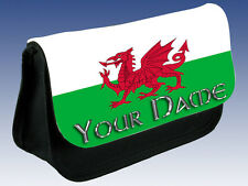 WELSH / WALES FLAG PERSONALISED PENCIL CASE /DS/ MAKE-UP BAG - GREAT NAMED GIFT