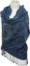 Schal hand bestickt 100% Wolle wool hand embroidered scarf Foulard Navy Blau