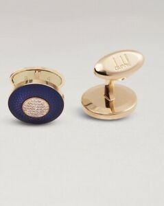 Dunhill Cufflinks Engine Turned Solid 18k Gold With Diamonds BNWB RRP £6800