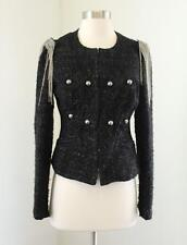 Express Black Navy Tweed Cropped Embroidered Military Style Blazer Jacket Size S