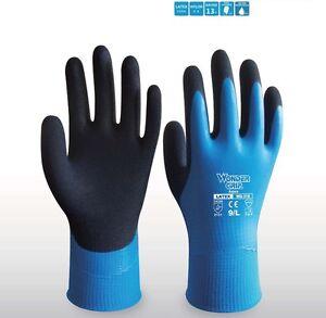 Water proof garden Work Gloves Wonder Grip Safety Glove