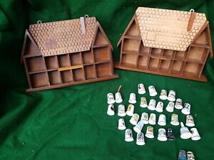 2 Thimble Display Cases With 33 Thimbles Wooden Well Made