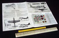 * 1960s Vintage Monogram Instructions & Decals (No Kit) Kingfisher OS2U-3 (C254)