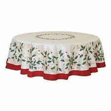 """NIP  LENOX HOLIDAY CHRISTMAS TABLECLOTH 70"""" Round  Holly & Red Berries LAST ONE"""