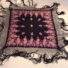 Antique Vintage Embroidered Victorian Silk Shawl
