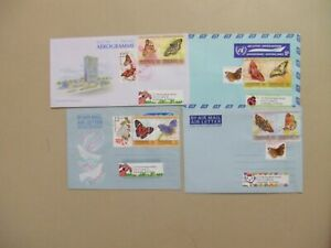 Four covers with BUTTERFLY dual stamps
