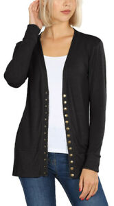 Women's V-Neck Snap Button Cardigan Stretch Long Sleeve Sweater S M L XL 2XL 3XL