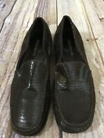 Sesto Meucci Black Metallic Loafer Leather Reptile Textured Women's 9M Italy