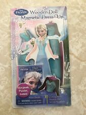 Disney Princess Magnetic Wooden Dress-up Doll Clothes Frozen Elsa Storybook Set