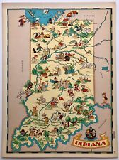New ListingRuth Taylor Original Cartoon Map Indiana 1935 6 Color Litho Hoosiers South Bend