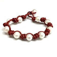 PULSERA de PERLAS CULTIVADAS Y CUERO natural rojo. 10 Perlas cultivadas 10 mm