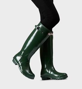 Hunter Women's Original Tour Gloss Hunter Green Tall Rubber Rain Boot NEW Size 7