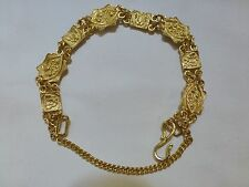 Antique Chinese 24k yellow gold flower link panel bracelet fan lotus 28.2g 6.5""