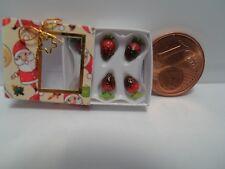 Erdbeeren in Geschenkpackung, 1:12, HANDARBEIT, Puppenhaus, Miniaturen, Laden