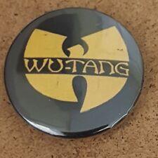 Wu Tang Clan Pin Back Badge yellow  on black