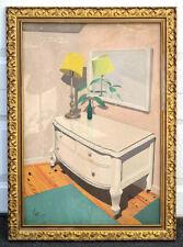 1957 Vintage PRECISIONIST INTERIOR STILL LIFE Oil Painting Dresser Lamp Bottle