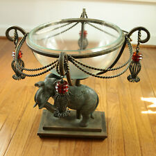 Bronze Elephant Centerpiece Iron Pedestal Glass Bowl Metal Rope Swags Tassels