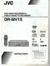 JVC DR-MV1S DVD Recorder VHS VCR Combo Replacement Owner's Manual