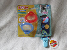 Nuby 2 Piece Natural Flex Silicone Cherry Shape Pacifier 0-6 Month Space Clip