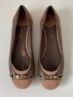 GEOX RESPIRA Ladies Brown and Beige Leather Pumps Size UK 4