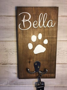 Pet Name Leash Holder/Personalised Leash Holder/Dog Lover Gift/Paw Print/Stained