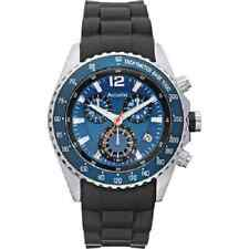Accurist Mens Blue Chronograph Dial Tachymeter Black Strap Designer Watch MS710