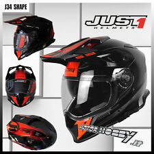 CASCO MOTO ENDURO NAKED MOTARD  JUST1 J34 SHAPE NEON RED TAGLIA L (59 - 60)