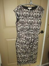 PRETTY TORY BURCH BROWN & IVORY PRINT DRAPE DRESS, SZ M, LQQK!!