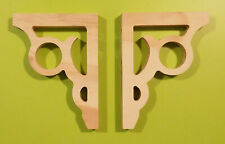 Pair of Curtain Rod Bracket Wall Sconce Corbels Unfinished Pine Wood 1.75
