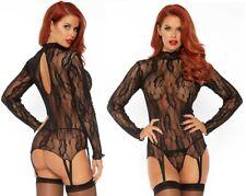 Long Sleeved Black Floral Lace Garter Top & G-String, Suspender Belt, Lingerie