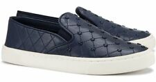 Tory Burch Women's Navy Leather Quilt-Stitch Studded Slip-On Sneakers Size 9