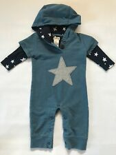 Hatley Long Sleeve Hooded Hood Romper Onepiece Boys Blue Stars 6-12 Months