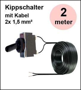 Kippschalter wasserdicht 12V 24V 10A Ein Aus 2 polig mit 2 m Kabel Auto KFZ