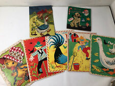 Vintage Sew LaceUp Cards Children 5 Cards Whitman