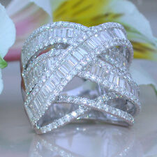 Gorgeous White Sapphire White Gold Plated Ring Wedding Bridal Jewelry Size 6-10