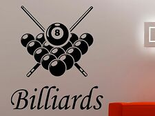 Billiard Sign Vinyl Decal Pool Wall Sticker Logo Design Home Sports Decor 7bld