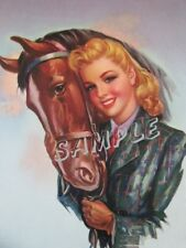 EQUESTRIAN PIN-UP GIRL HORSE ENGLISH GEAR HORSEBACK RIDING CANVAS ART PRINT