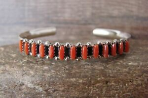 Zuni Indian Sterling Silver Coral Row Bracelet by V. Martza