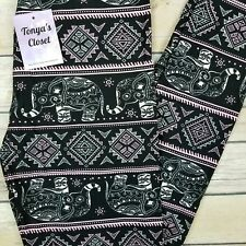Pink Black Elephant Leggings Aztec India Tribal Buttery Soft ONE SIZE OS