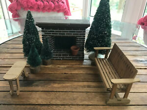 Outdoor Dollhouse Accessories Lot Porch Swing, Fireplace, Trees,Bench & Planter