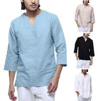 Men's Baggy Cotton Linen 3/4 Sleeve Retro V Neck T Shirts Tops Blouse