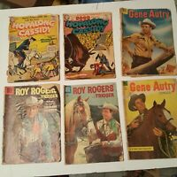 ROY ROGERS, GENE AUTRY, Hopalong Cassidy Lot of 6 poor conditiin 1950s Western