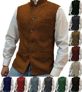 Herren Tweed Weste Geschäft Stehkragen Herringbone Vintage Retro Formal Wolle
